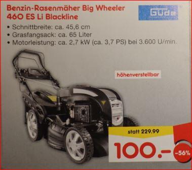 Güde Benzinrasenmäher Big Wheeler 460 ES LI mit Elektostarter für 100 Euro [Netto MD - Ötisheim]
