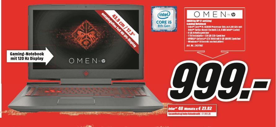 """[Regional Mediamarkt Berlin] HP OMEN 17-AN132NG, 17,3"""" 120hz IPS, i5-8300H, GTX1060, 8GB RAM, 1TB HDD, 128GB SSD, Thunderbolt 3 ab 899,10€"""