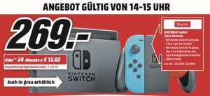 [Lokal: Media Markt Gütersloh - nur am 24.03. von 15-16 Uhr] NINTENDO Switch Neon-Rot/Neon-Blau