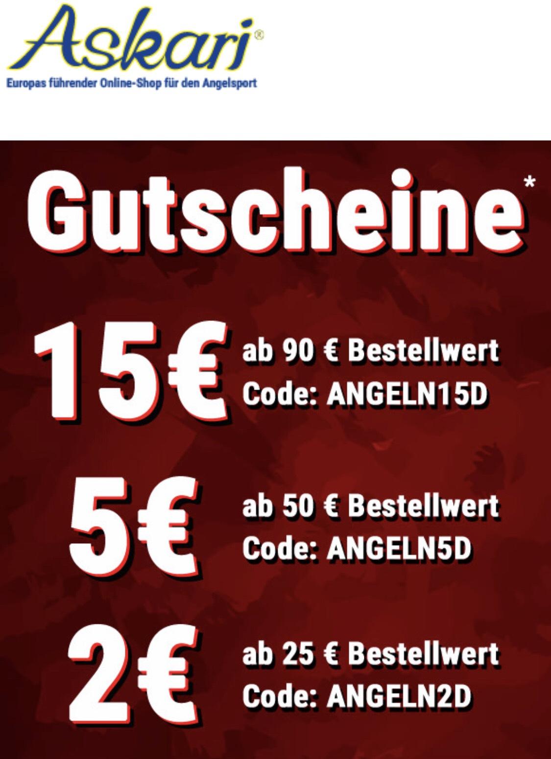 Askari Angelsport Gutscheine bis 15€ Rabatt (online)