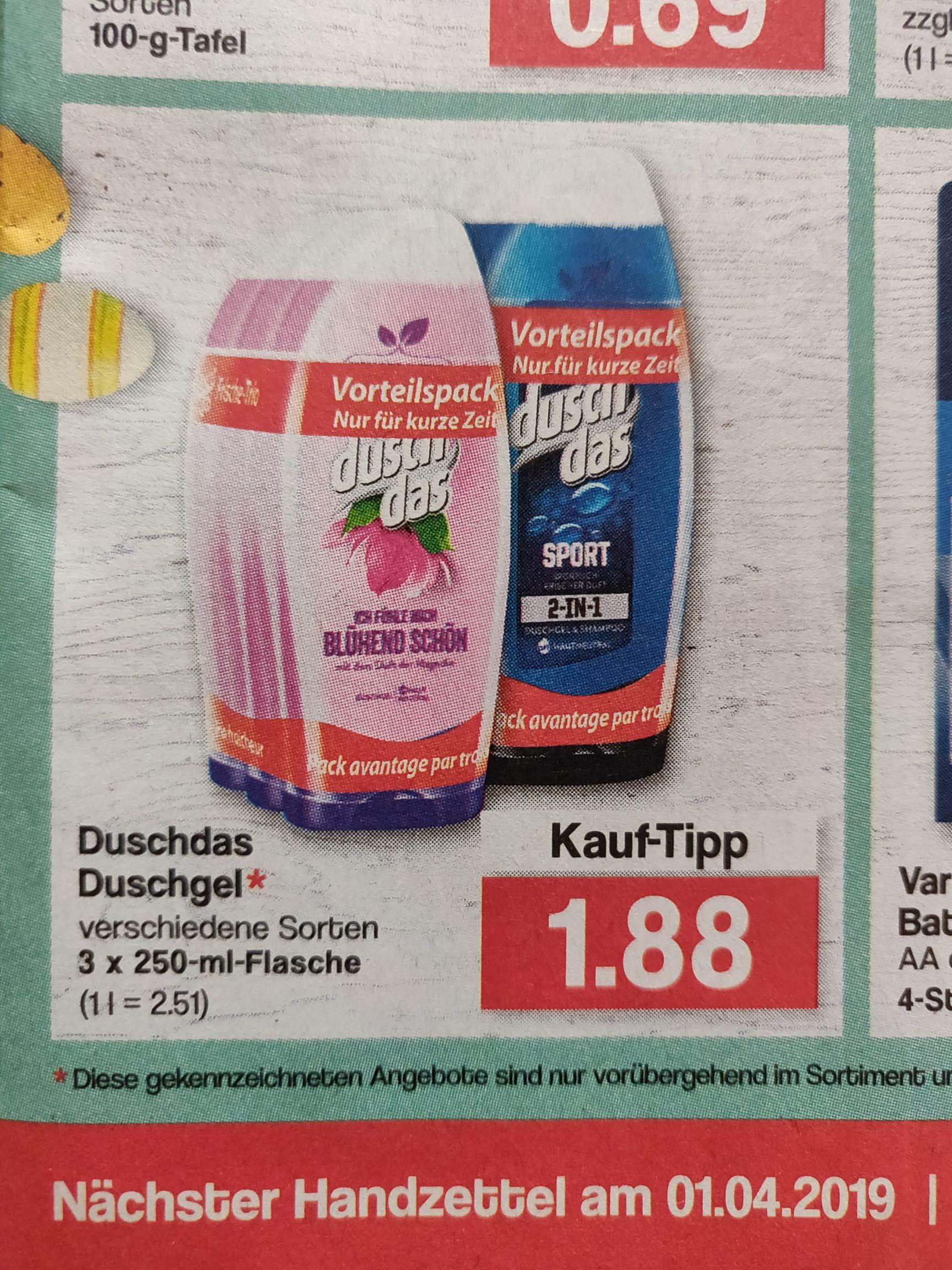 [Famila] 3 x Duschdas Duschgel versch. Sorten für 1,88 €