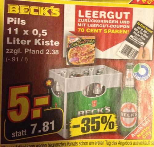 (Lokal - versch. Orte) Beck's 11x 0,5l-Kiste - Netto Marken-Discount