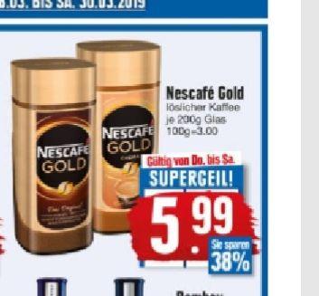 [Edeka Südbayern] 2 Gläser Nescafe Gold (verschiedene Sorten) für 11,98€+ 10 Euro Edeka-Gutschein
