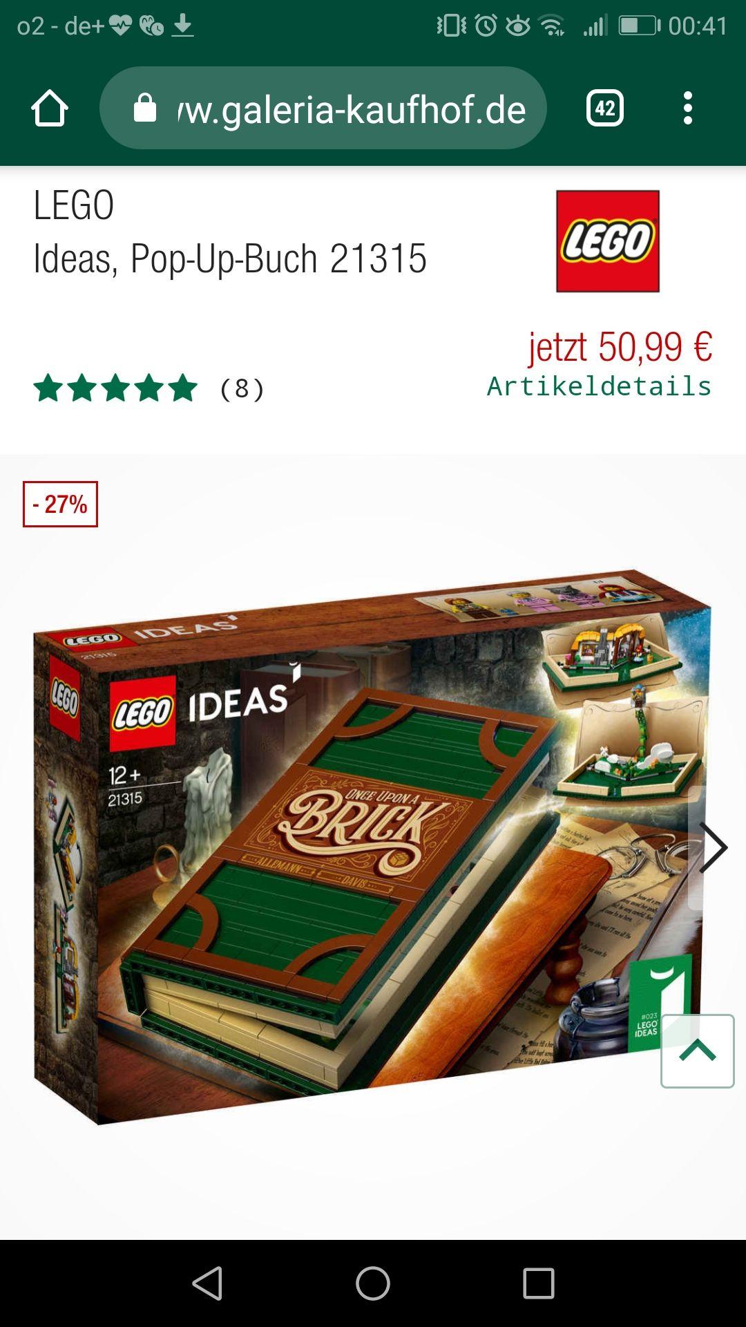 Galeria Kaufhof Lego Ideas 21315 Pop-Up Buch