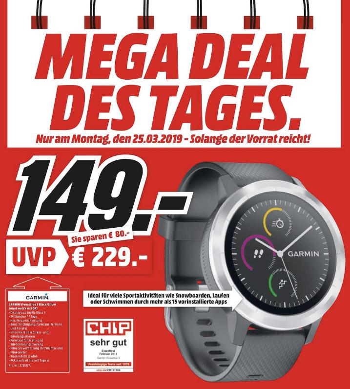 [Lokal: Media Markt Bayreuth - nur am 25.03.] GARMIN vívoactive 3 Smartwatch 127-204 mm, Schwarz/Silber (GLONASS, ANT+, NFC, GPS)