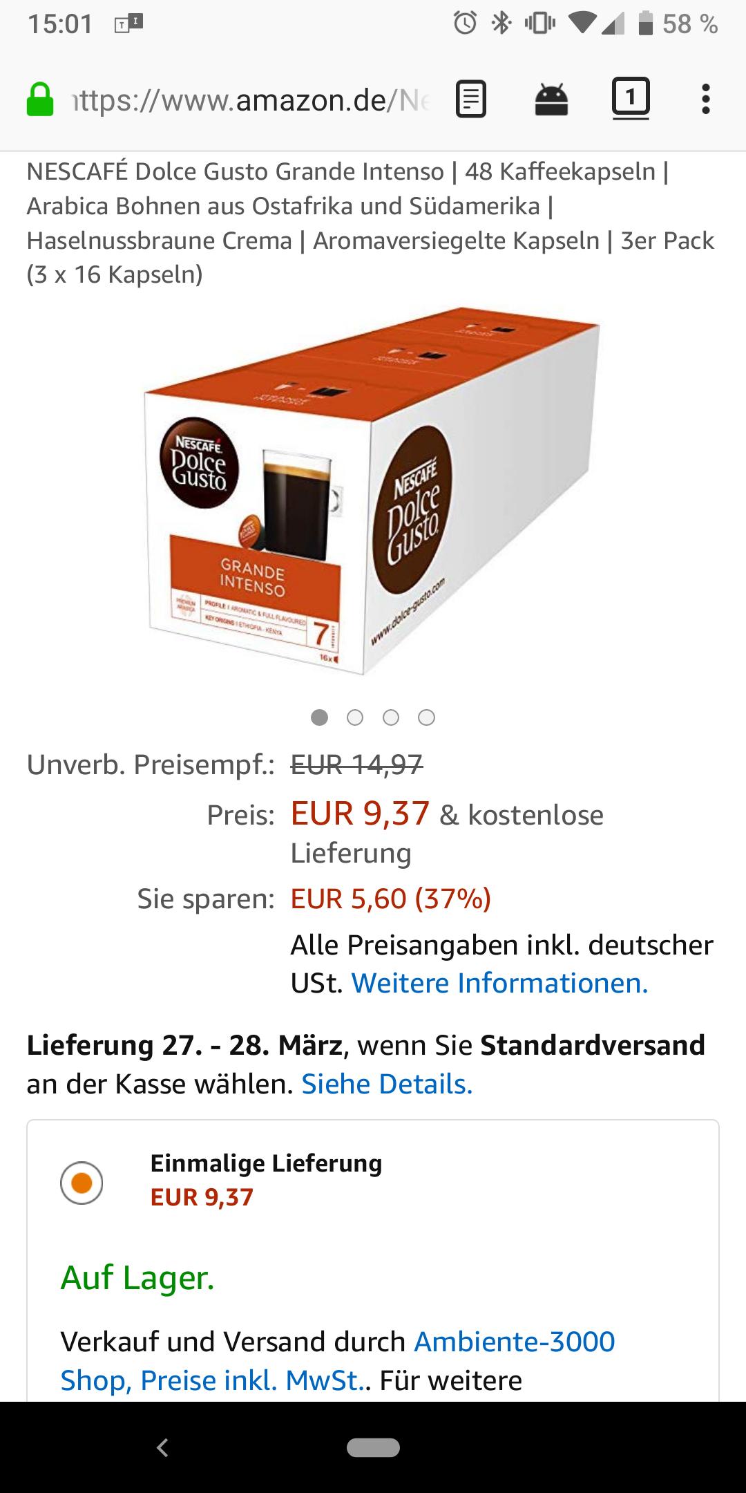 NESCAFÉ Dolce Gusto Grande Intenso | 3 x 16 Kapseln | Amazon Marketplace