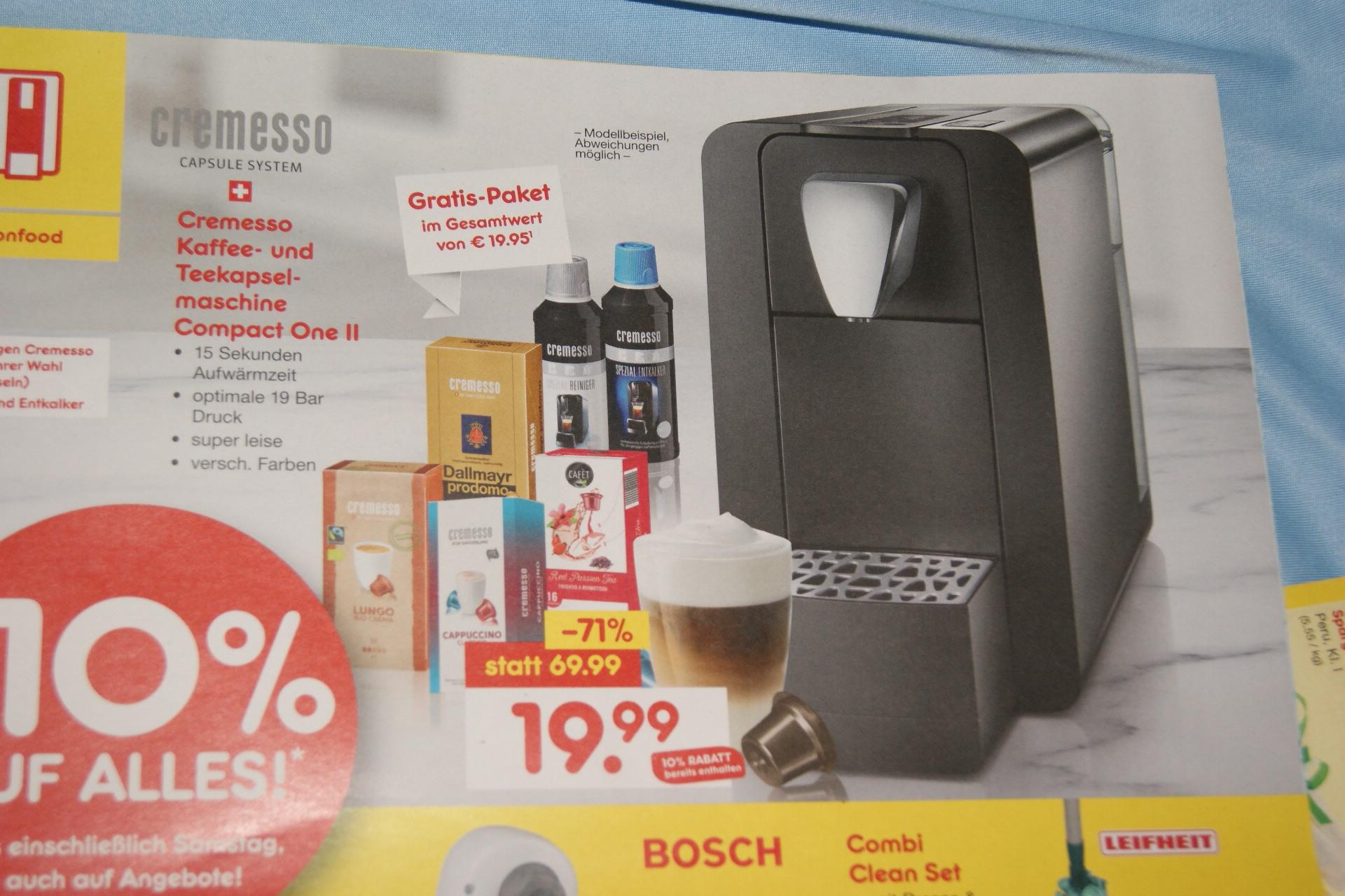 Cremeso Kaffee- und Teekapselmaschine + 48 Kapseln (Wert: 19,95€) für 19,99 Euro (lokal Berlin)