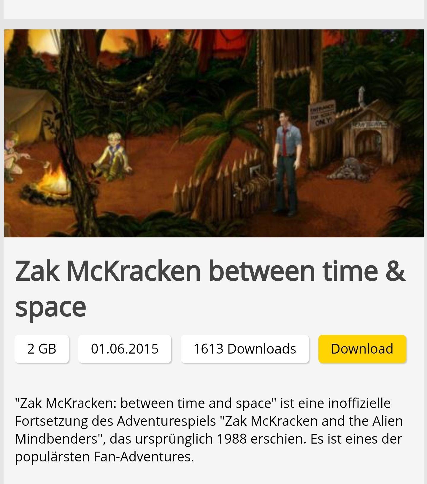 Zac McKracken between time and space uvm. kostenloser Download PC