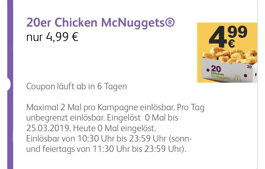 [McDonald's] 20 Chicken McNuggets für 4,99 Euro
