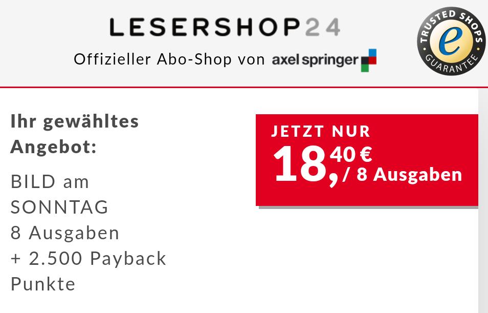 [Payback] 2.500 Paybackpunkte (25€) für 8 Ausgaben der Bild am Sonntag / BamS