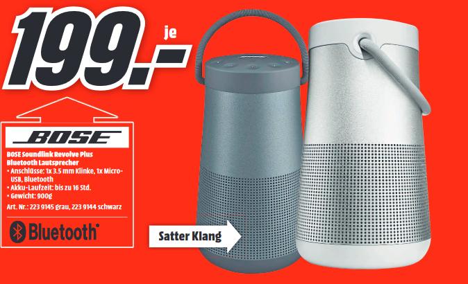 [Lokal: Media Markt Wolfsburg & Gifhorn] Bose SoundLink Revolve Plus (+) Bluetooth Lautsprecher (NFC, IPX4, AUX In) in schwarz o. grau