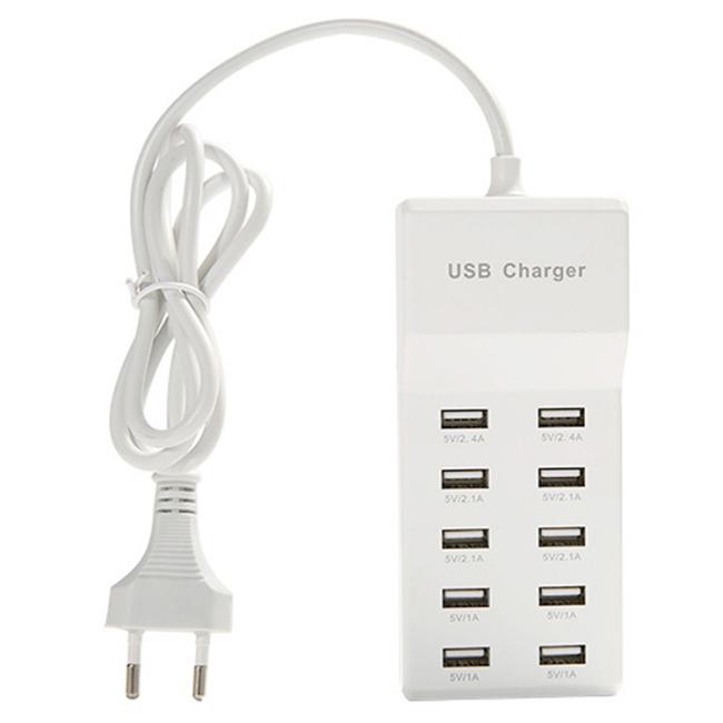 50W Smart Schnellladegerät USB-Power Adapter mit 10 USB-Anschlüssen