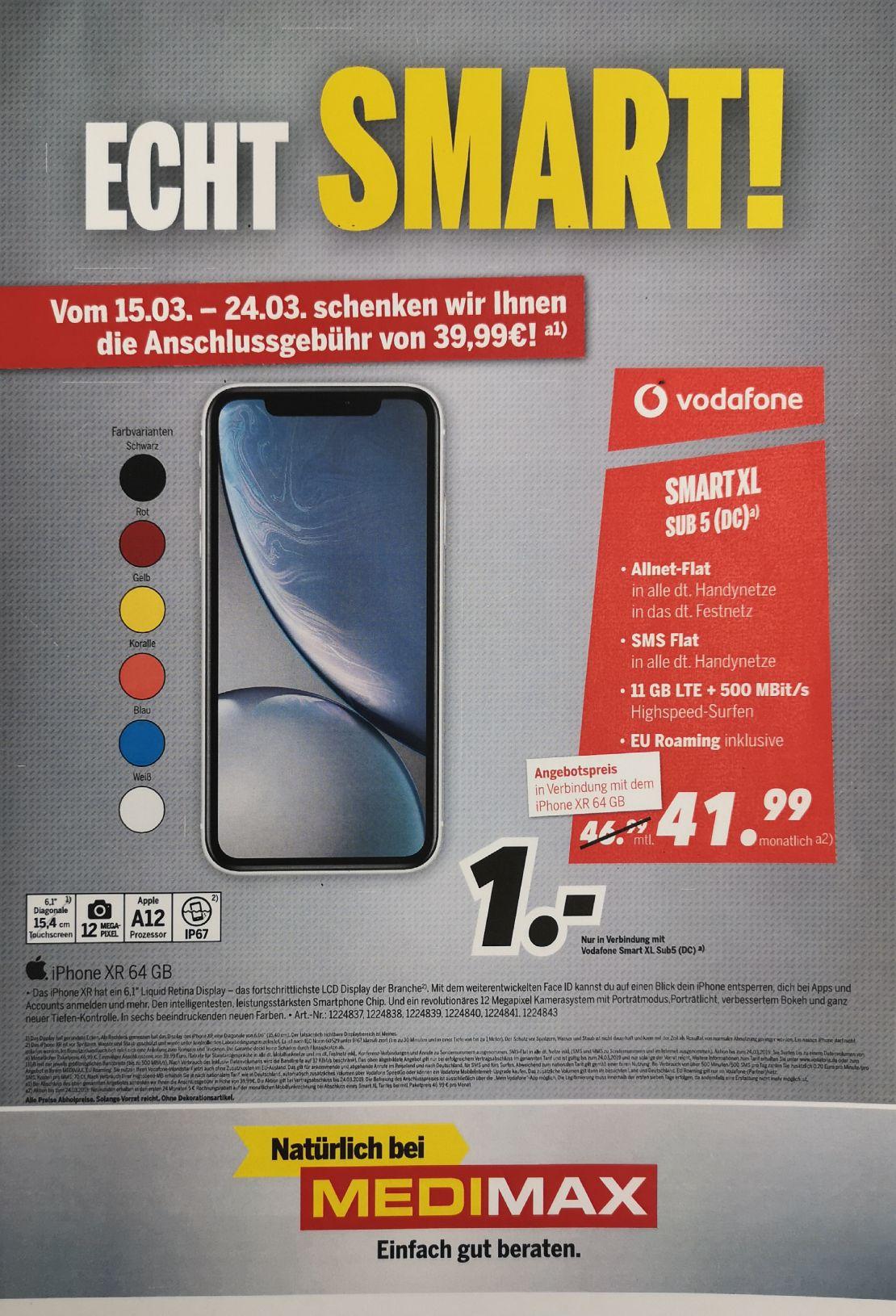 IPhone XR 64GB 1€ mit 11GB Vodafone Vertrag mtl. 41,99€ + AP frei (Smart XL)