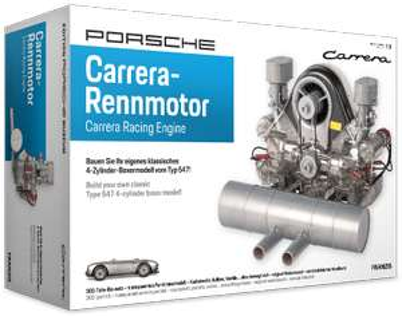 Porsche Carrera-Rennmotor Bausatz inkl. Begleitbuch (300+ Teile, Maßstab 1:3, beweglich, Motor-Sound durch Soundmodul)