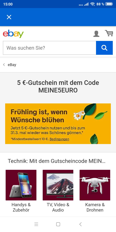 eBay 5 Euro GUTSCHEIN ab 10 Euro MBW