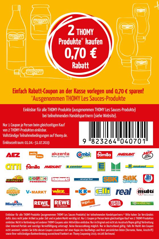 0,70€ Coupon für den Kauf von 2 Thomy Produkten nach Wahl 01.04. - 31.07.2019 zum Download