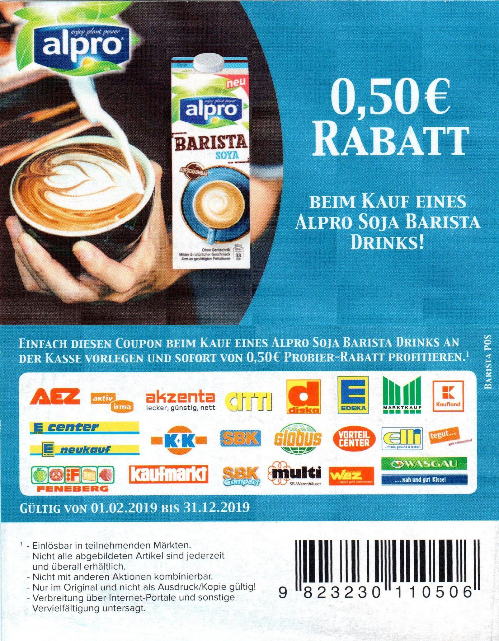 2 neue 0,50€ Coupons für den Kauf von Alpro Hafer-Produkten / Soja Barista Drinks bis 31.12.2019