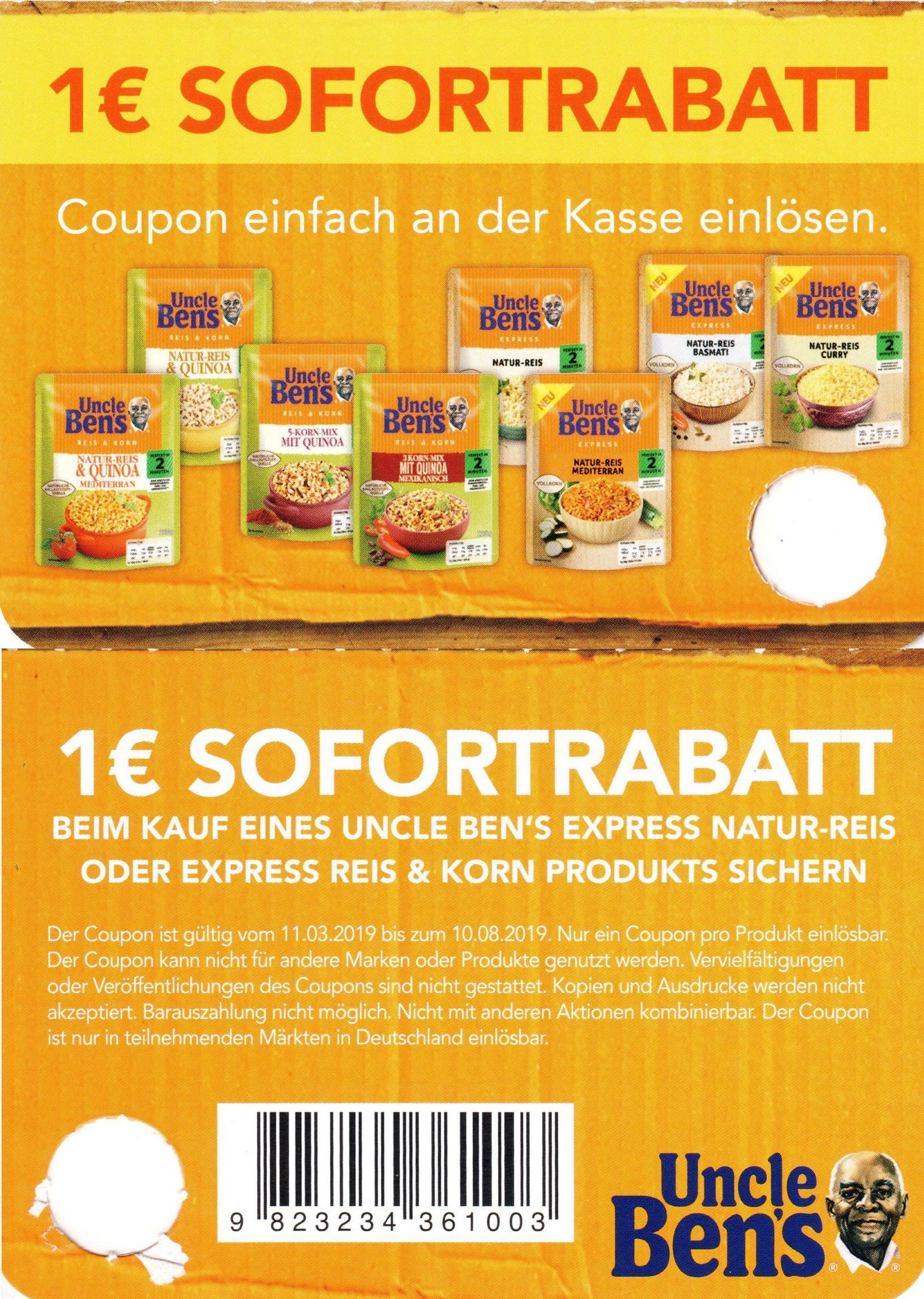 1€ Coupon für den Kauf eines Uncle Ben's Express Natur-Reis oder Reis&Korn Produktes bis 10.08.2019