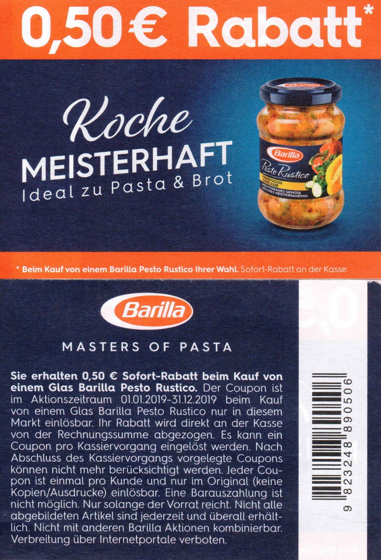 0,50€ / 1,00€ Coupons für Barilla Academia / Pasta & Sauce Set / Pesto Rustico bis 31.12.2019