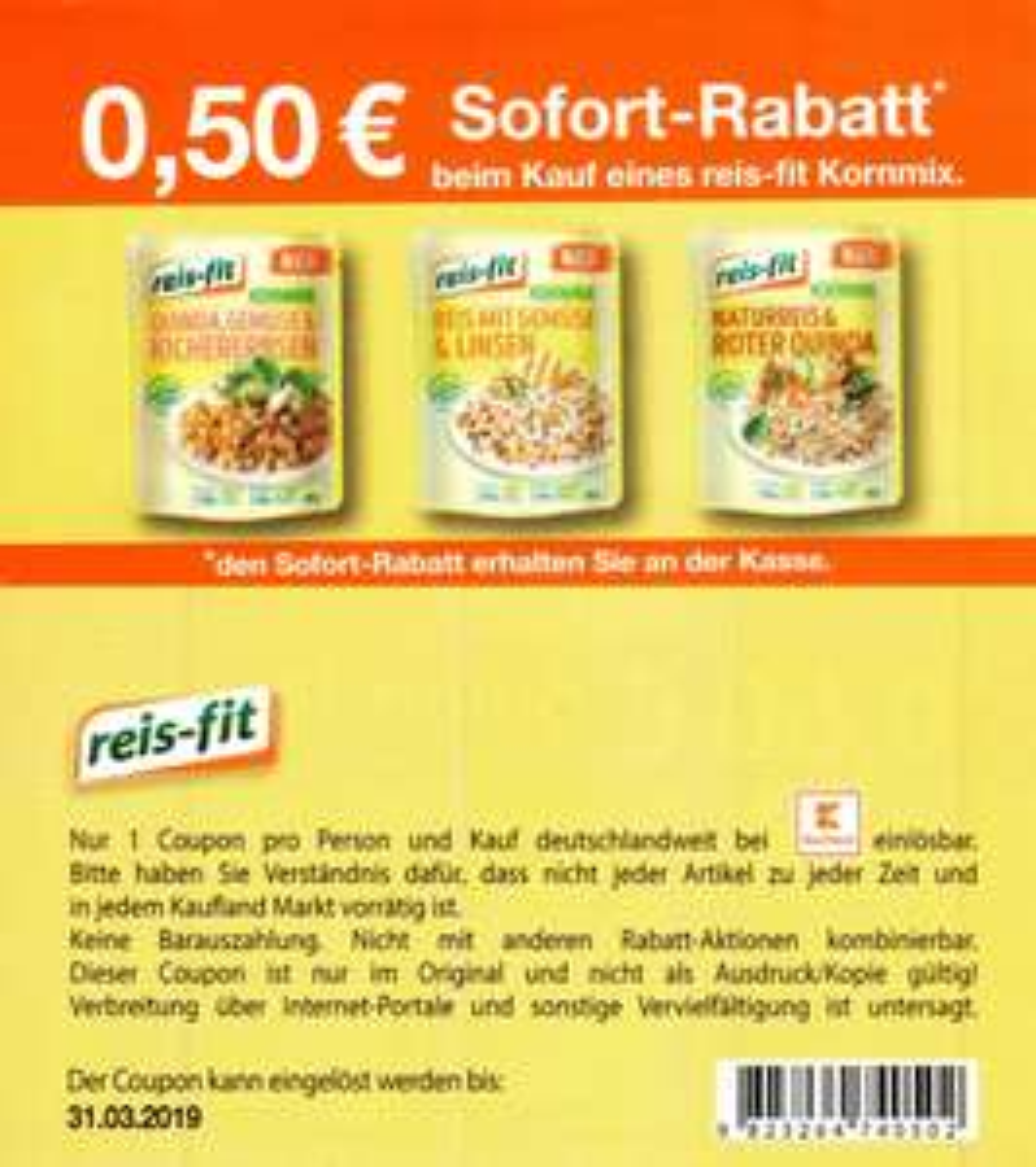 0,50€ Coupon für den Kauf einer Packung reis-fit Kornmix bei Kaufland bis 31.03.2019