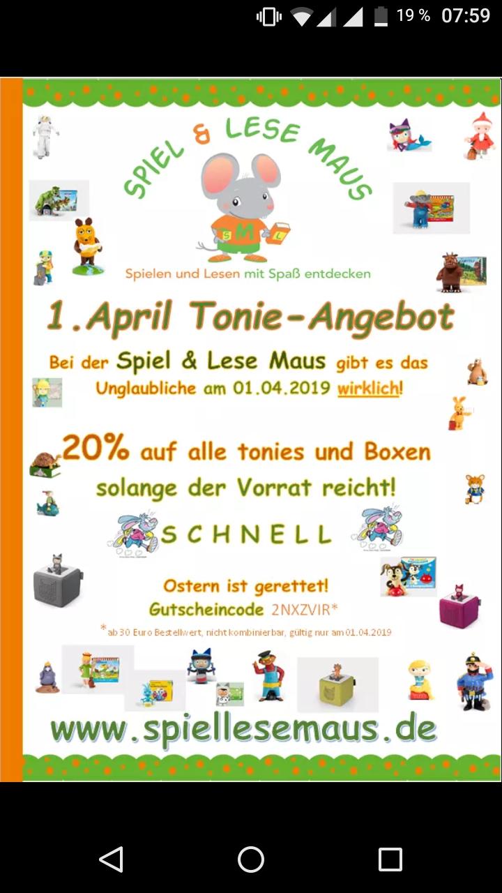 20% auf Tonies und Tonieboxen - MBW 30€ - Versand 5,95€