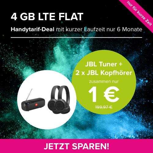 Mit Gewinn: 4GB LTE Allnet-FLAT (im o2-Netz) + JBL Tuner UND 2 x JBL TUNE 500 BT für 1€ im Wert von 169€ | nur 6 Monate Laufzeit *UPDATE*