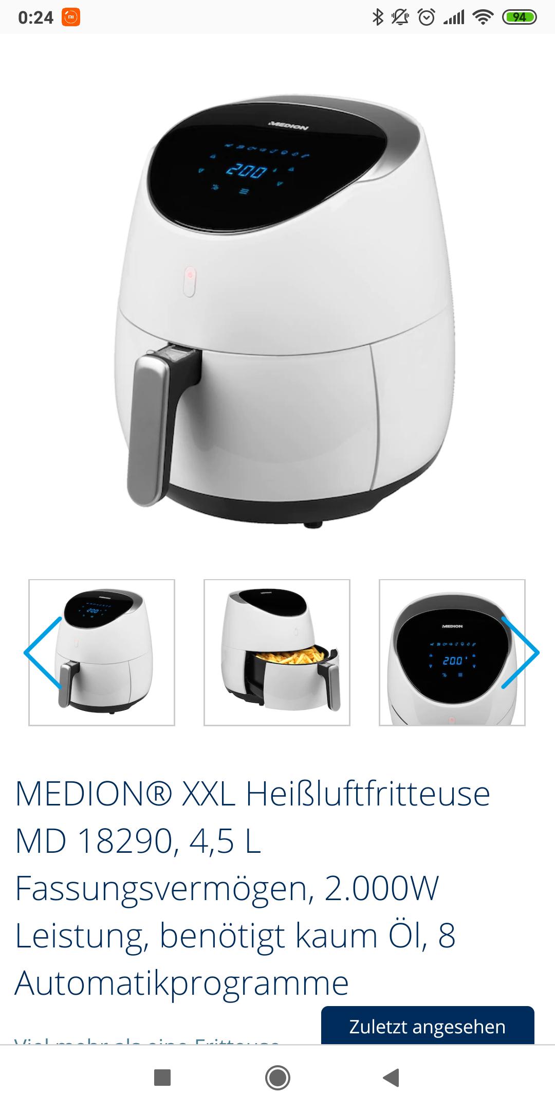 Medion Digitale Heißluftfritteuse XL MD18290 2000 Watt