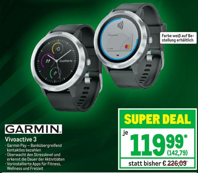 [Metro] Garmin Vivoactive 3 Smartwatch (GLONASS, ANT+, NFC, GPS) (04.04. - 10.04.2019)