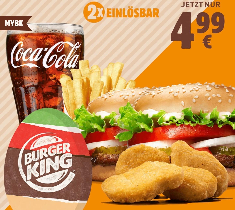 [Burger King App] 2x Whopper Jr. + 4 Nuggets + mittlere Pommes + 0,4l Getränk für 4,99€