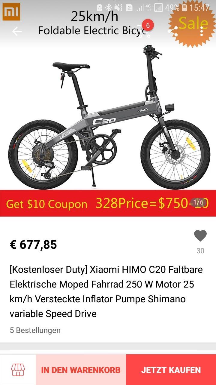Xiaomi HIMO C20 Faltbare Elektrische Moped ebike e-bike  Fahrrad 250 W Motor 25 km/h Versteckte Inflator Pumpe Shimano variable Speed Drive