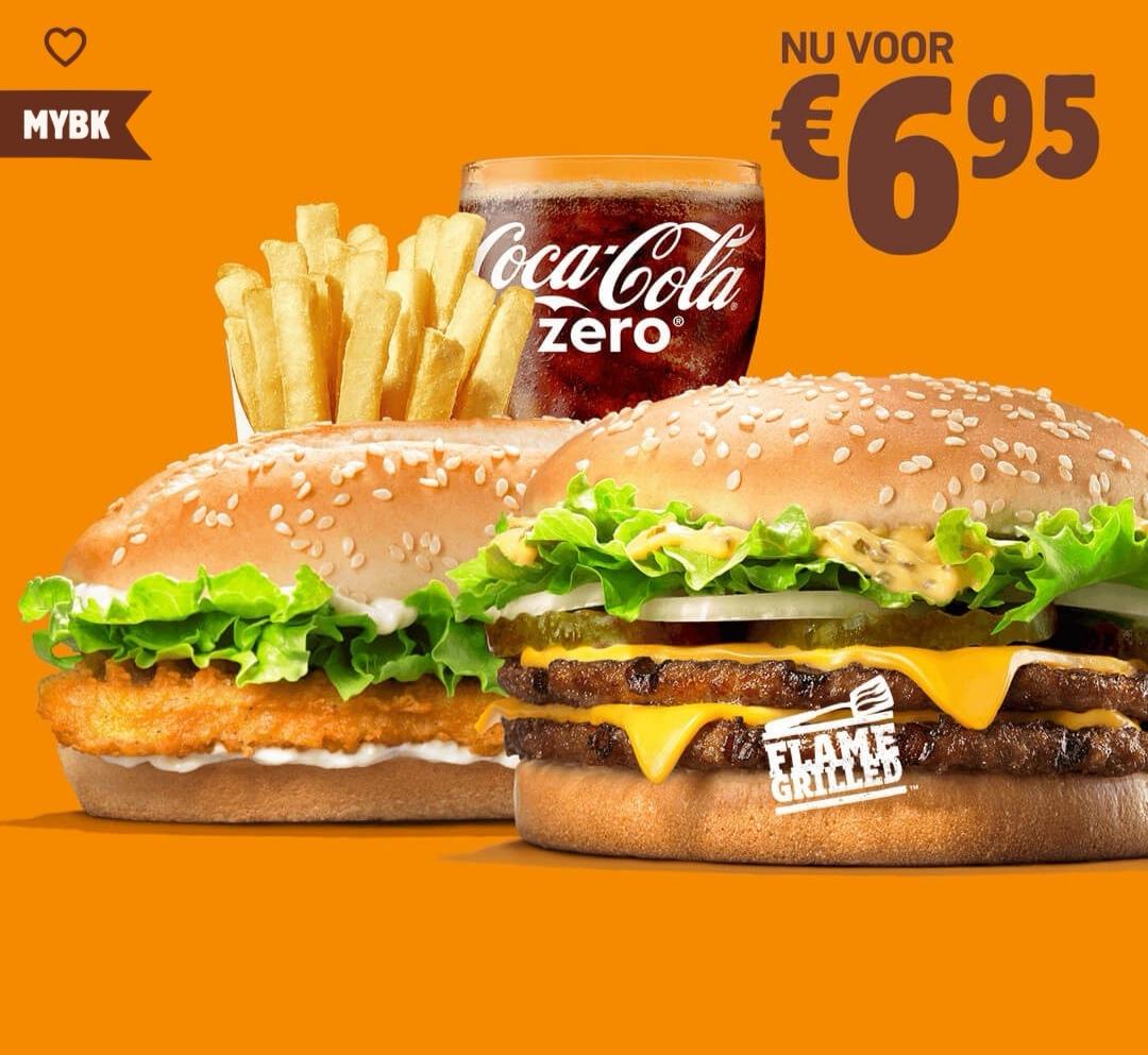 (Burger King NIEDERLANDEN MyBK) Big King XXL + Long Chicken + Mittlere Portion Pommes + 0,4l Softdrink
