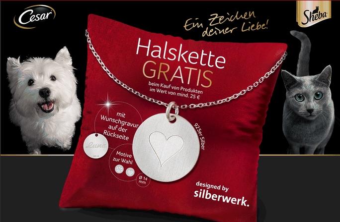 Gratis Halskette (925er Silber) beim Kauf von Sheeba, Cesar, Pedigree oder Dreamies Produkten im Wert von 25€