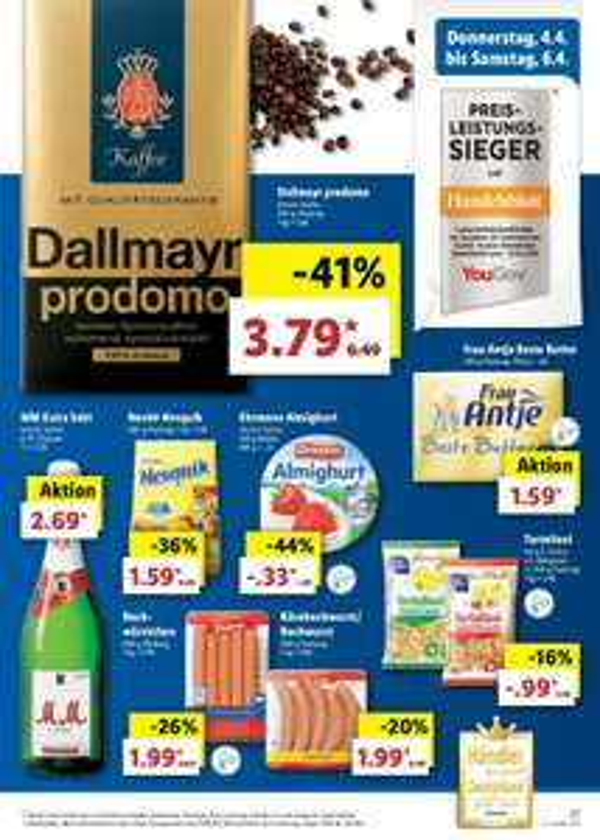 Lidl-Wochenangebot: Kaffee Dallmayr prodomo (500g) für 3,79€