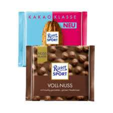 Ritter Sport Nussklasse und Kakaoklasse, verschiedene Sorten, die 100 g Tafel für 88 Cent [ Rossmann ]