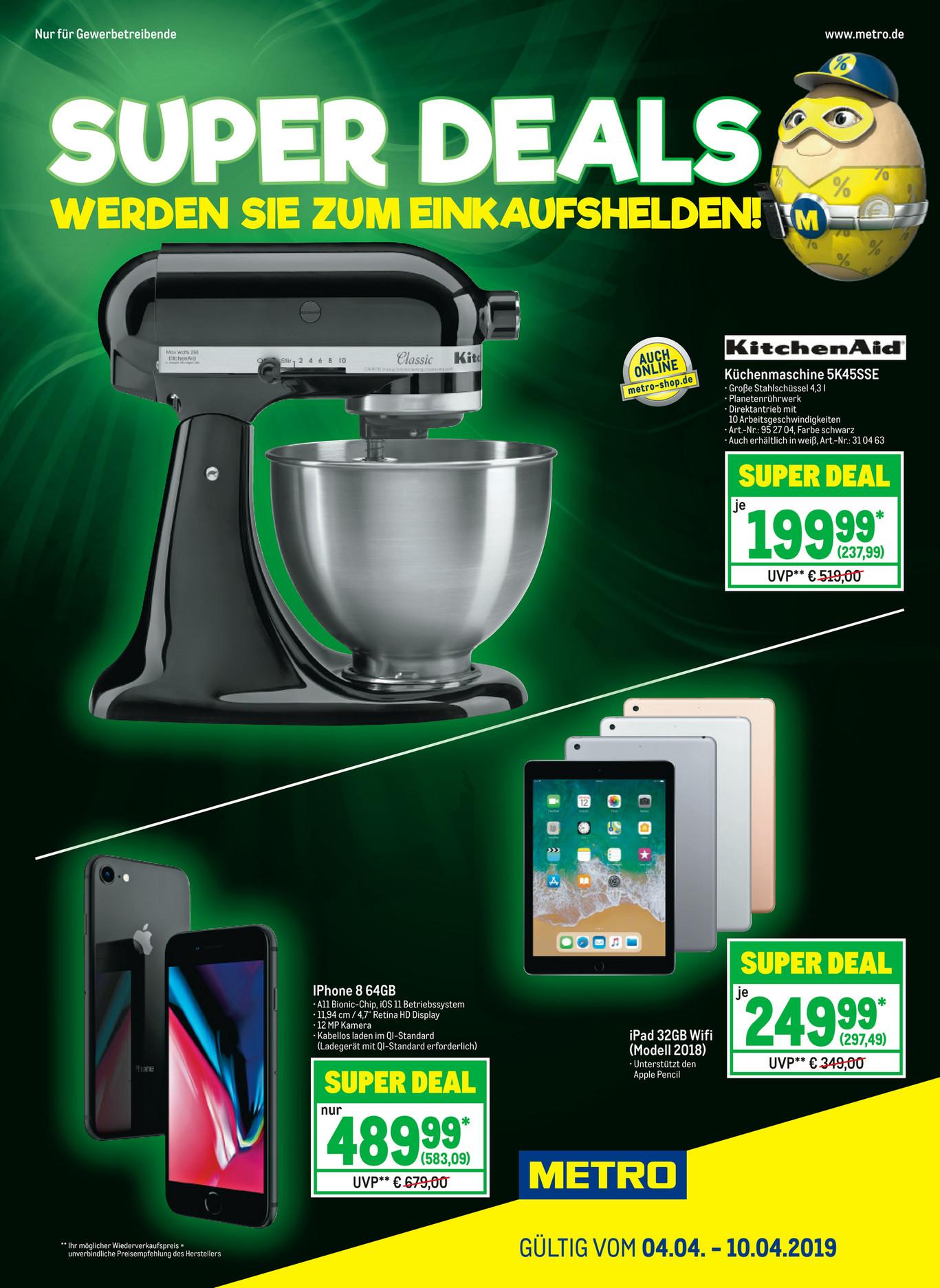 [METRO] Kitchen Aid Küchenmaschine 5K45SSE (04.04.-10.04.2019) auch Online
