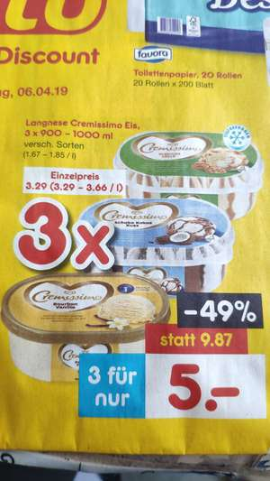 (Netto MD) 3x Langnesse Cremissimo Eis