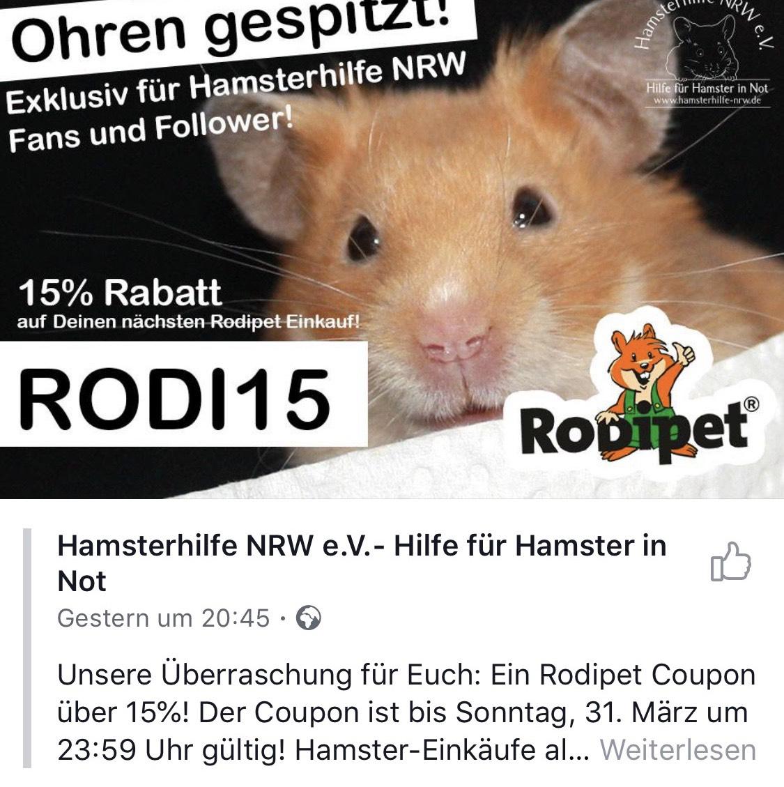 15% bis Sonntag 23:59 im Onlineshop von Rodipet