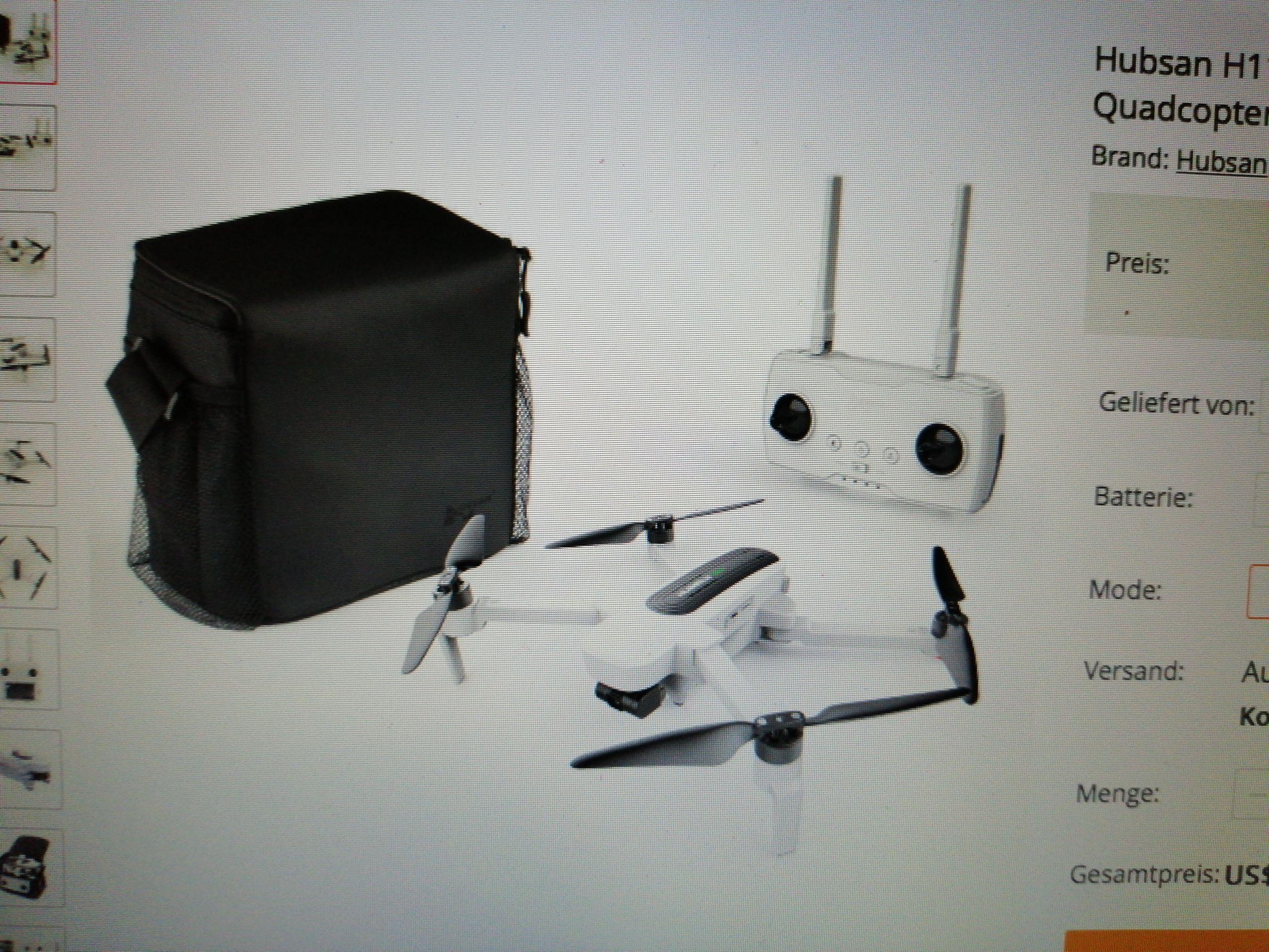 Hubsan Zino Drohne zu einem guten Kurs