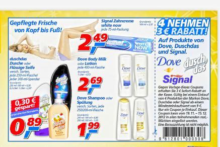 """[Real Offline] 4 """"Dusch Das""""  kaufen und mit Gutschein für alles  56 CENT bezahlen"""
