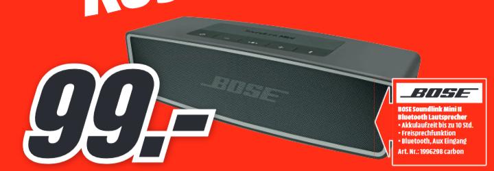 [Lokal: Media Markt Paderborn]  BOSE SoundLink Mini Bluetooth speaker II Bluetooth Lautsprecher, Carbon | Sony KD-55XF8505 für 799€