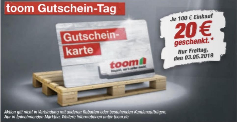 Toom Gutschein-Tag: Je 100€ Einkaufswert gibt es eine 20€ Gutscheinkarte