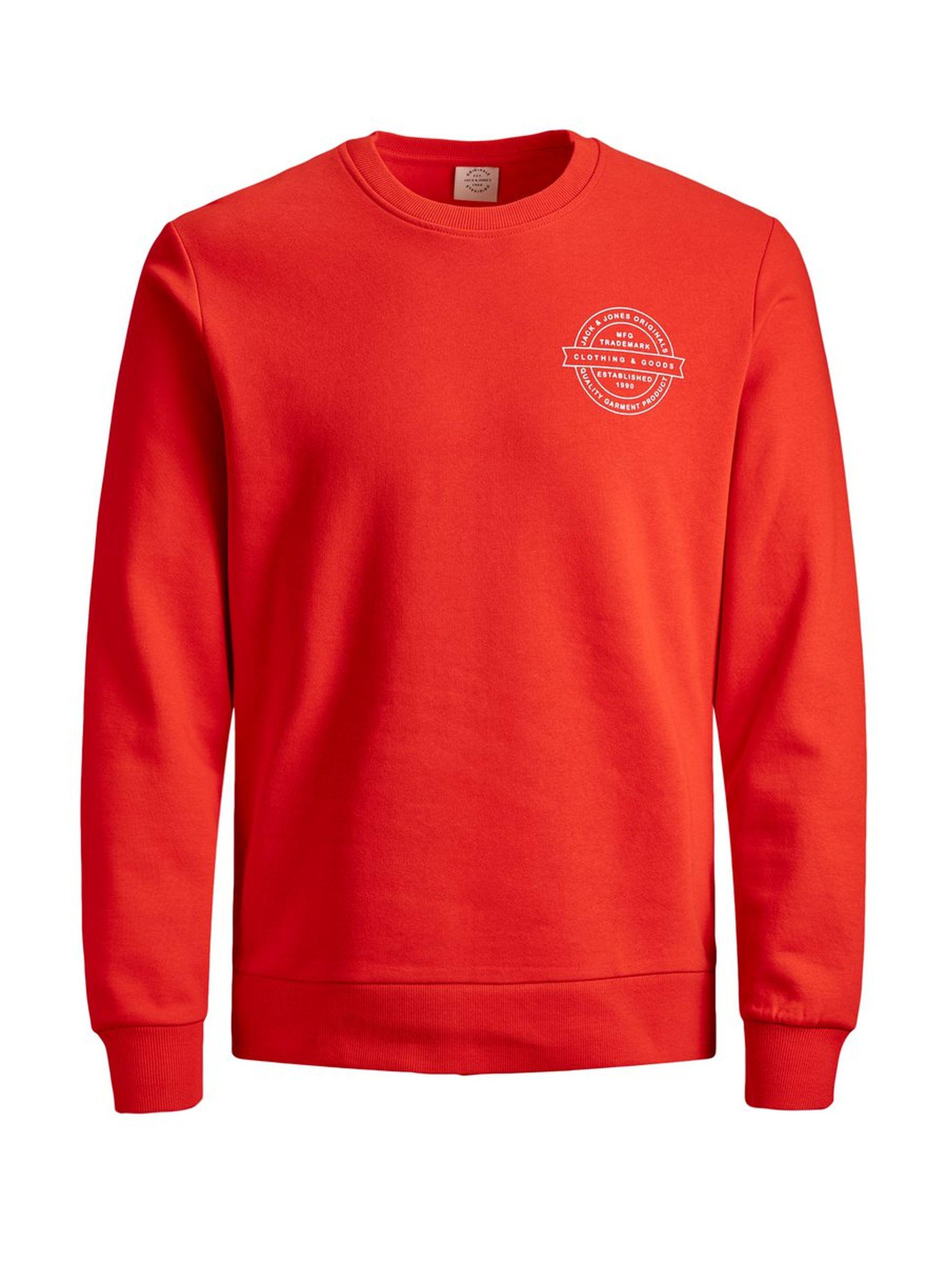Jack & Jones Sweatshirt in Ferrarirot bzw. Lila mit kleinem Print (Gr. S-2XL)
