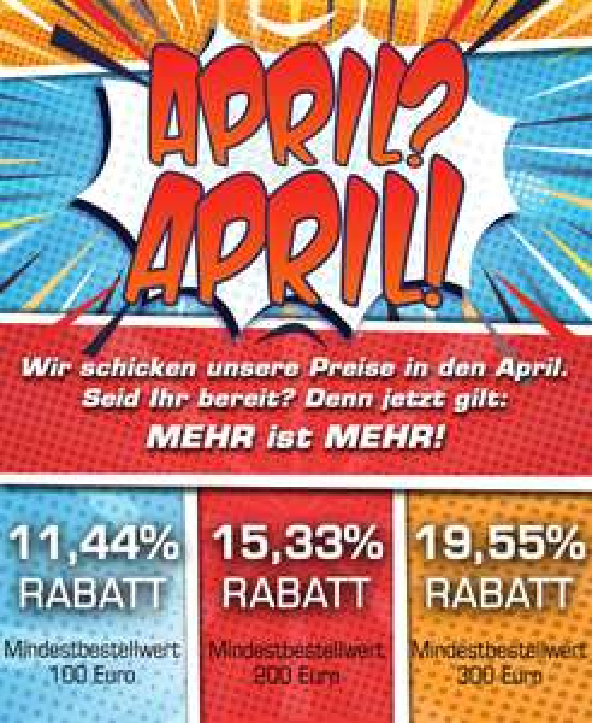 Bis zu 19,55% Rabatt heute - nur 1. April