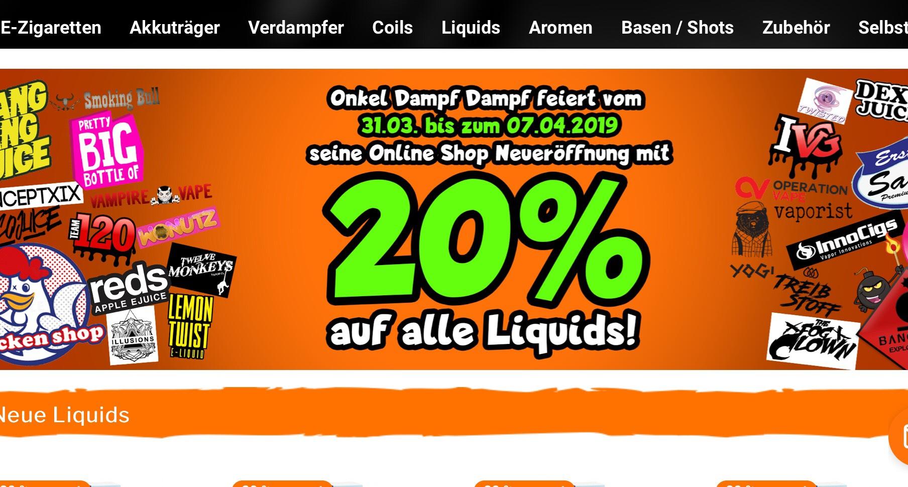 [ Aktion verlängert ] 20% Prozent auf alle Liquids, 15% Prozent auf alle Aromen [ onkeldampfdampf.de ]