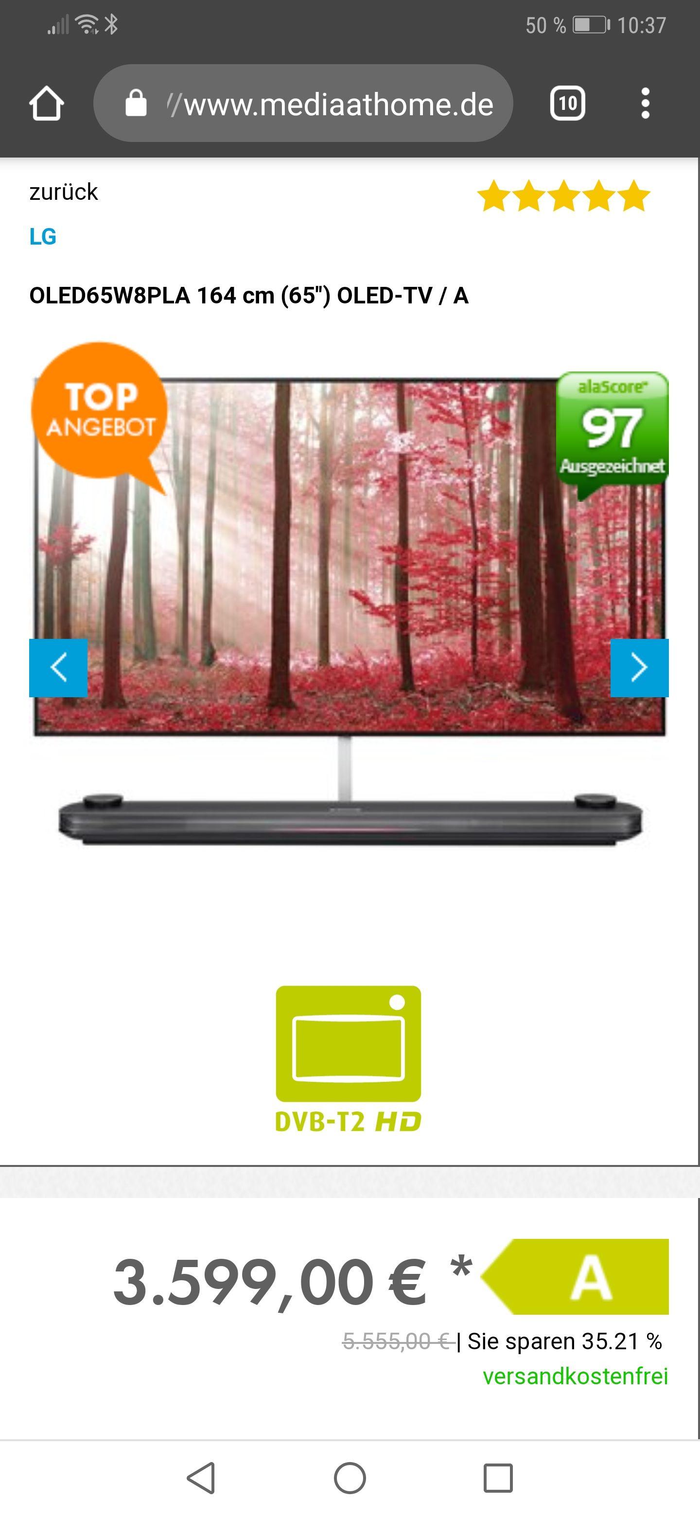 LG SIGNATURE OLED65W8PLA, 164 CM (65 ZOLL), UHD 4K, SMART TV, OLED TV, DVB-T2 HD, DVB-C, DVB-S2