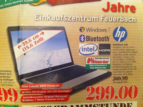 HP Notebook 630 für 299€ + 50€ HP Cashback im Marktkauf Stgt-Feuerbach [lokal]