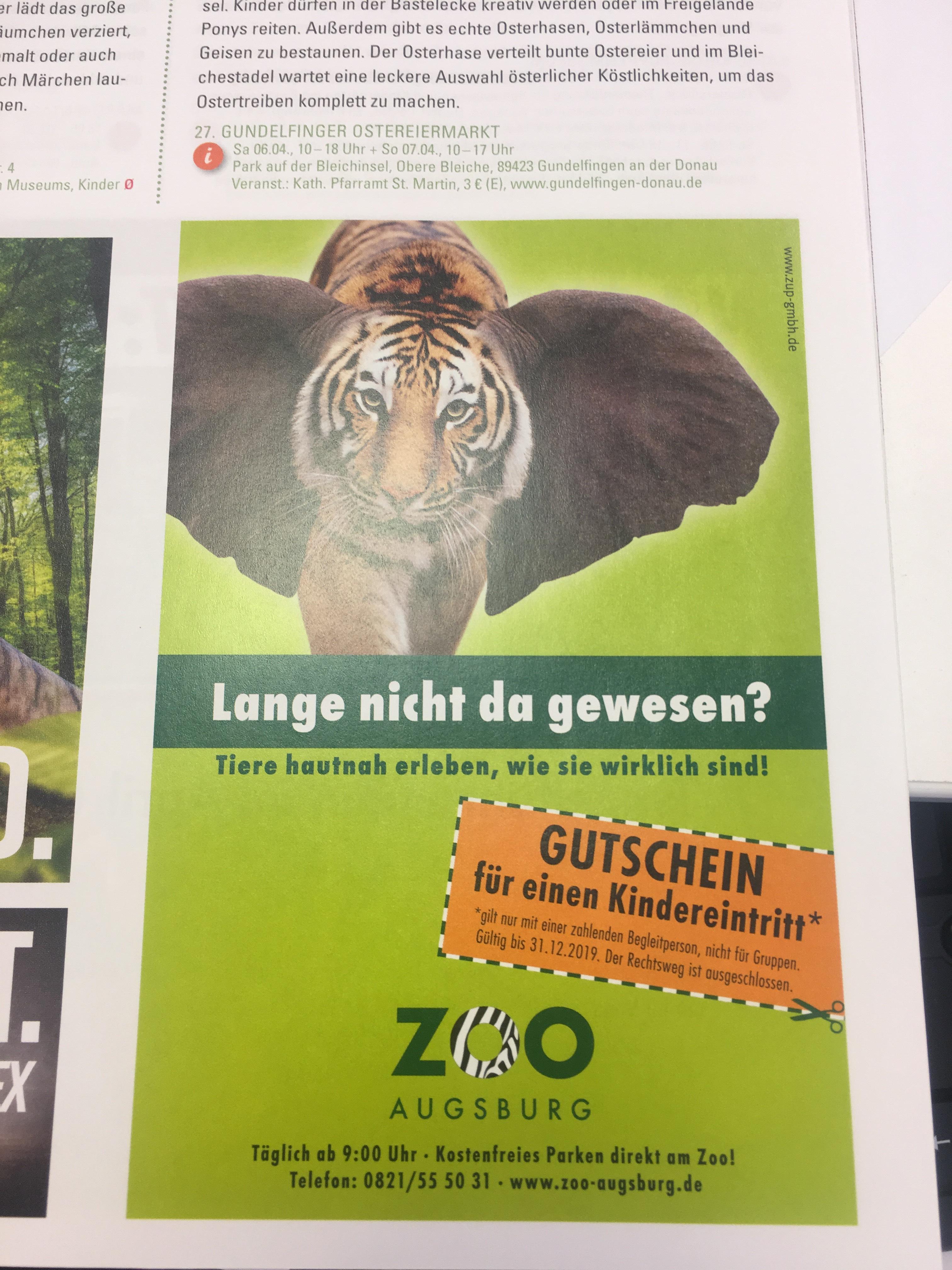 (Lokal Augsburg) Zoo Besuch kostenlos für Kinder von 5-15 Jahren in Zeitschrift Lieslotte zu finden