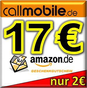17€ Amazon Gutschein + 12€ Startguthaben für 2 € callmobile prepaid Karte @ ebay