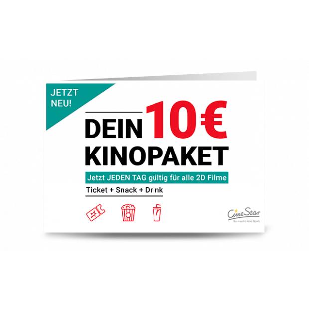 CineStar Kinogutschein (2D-Film inkl. aller Zuschläge) + Popcorn oder Nachos (klein) + 0,5l Softgetränk oder Bier für 10€