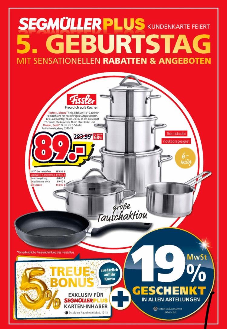 Tauschaktion bei Segmüller: Fissler 5-teiliges Topfset Vienna + gratis Pfanne (Kundenkarte)